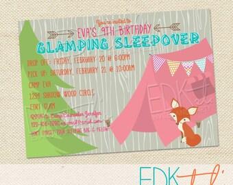 Glamping Camping Birthday party invitation//sleepover// tween//teen//slumber party invitation