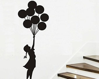 Flying With Balloons girl Kids Nursery----Removable Graphic Art wall decals stickers home decor