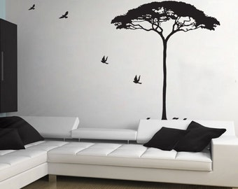 68INCHES H Africa Tree and birds----Removable Graphic Art wall decals stickers home decor