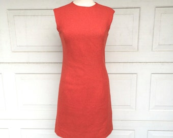 60s Vintage Orange Wool Sheath Dress Simple Fitted Knit Sleeveless High Neck Career Dress XS Small