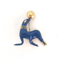 Cute Blue Seal Circus Novelty Brooch 60s 70s Vintage Gold Tone Painted Animal Pin