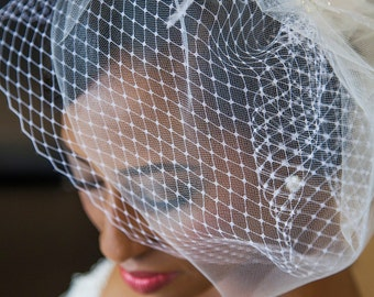 Double Birdcage Veil Bridal Accessory with Petal Detail -- tulle veil, vintage birdcage, wedding veil, french netting veil