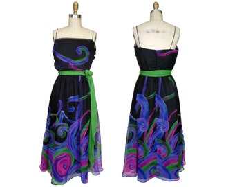 1970s to 80s Poly Chiffon and Taffeta Party Dress Riffs Psychedelic Swirling Patterns