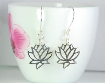 Sterling silver lotus earrings, dangle earrings, entirely sterling silver, peace, Zen, Yoga