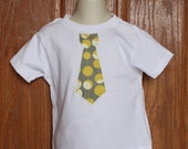 Child Tie Applique Shirt (0-7) in Amy Butler Linen Midwest Modern