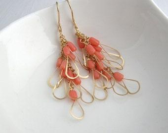 Pink Coral Little Wing Earrings - Coral Earrings - Chandelier Earrings - Boho  - Coral Jewelry