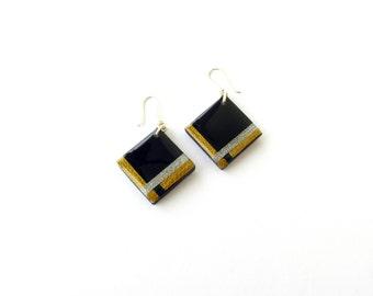 Black Resin Earrings-Square Black Earrings-Resin Black Earrings-Modern Jewelry-Resin Jewelry-Contemporary Jewellery