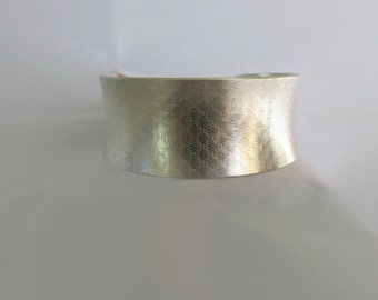 Cuff Bracelet Sterling Silver, Wide Cuff Anticlastic Bracelet Handcrafted