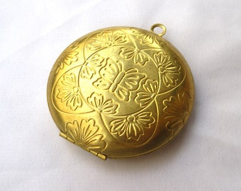 1 pc 51mm Large Locket Brass Necklace Pendant Butterfly Locket p039