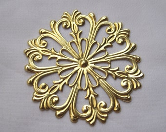 6pcs Flower Filigree Golden Chrysanthemums Stamping Filigree Round Findings for Earrings bf154