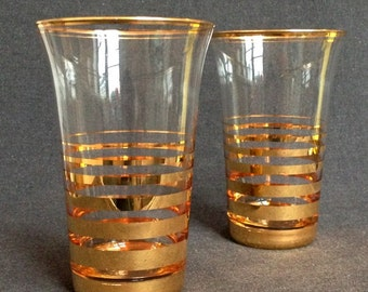 Pair of vintage golden glasses. Elegant Christmas gift idea.