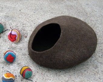 Cat cave/ cat bed / cat house /Brown natural + GIFT