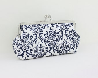Navy and White Damask Bridesmaid Clutch / Wedding Gift - the Emma Style Clutch