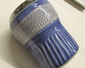 Vase Handmade Ceramic  Stoneware  Chattered Pottery Blue and Silver Vase