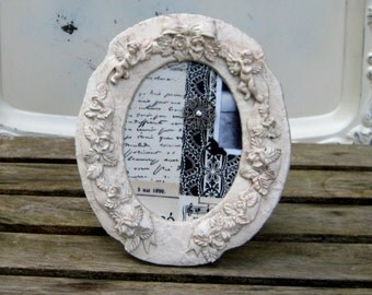 Framed Magnet Board, Photo Memory Board Vintage Frame with cherubs, ribbons and roses with a vintage image and filigree super strong magnet