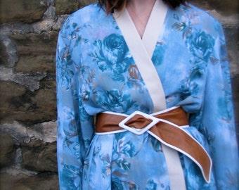 vintage 1980s Orange and White Soft LEATHER Fat Wrap Belt by Calderon
