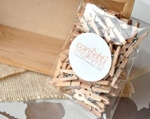 """Mini Clothespins 1"""" - Ships in 2-5 Business Days.  Tiny Wooden Clothespins Pack of 50."""