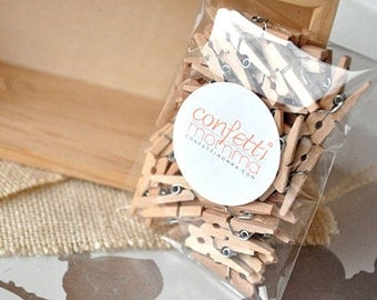 "Mini Clothespins 1"" - Handcrafted in 2-3 Business Days.  Tiny Wooden Clothespins Pack of 50."