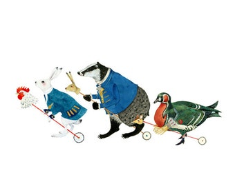 Hare, Badger and Duck animal parade print 8x11 art print