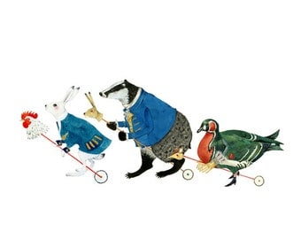 Hare, Badger and Duck animal parade print 8x11 art print