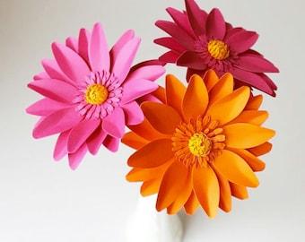 Handmade Paper Flower - GERBERA - Custom Colours - Set of 3 - Stems  Included