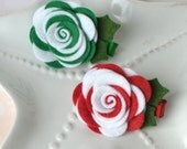 Red and Green Felt Flower Hair Clips- Hair Accessories for Christmas Holidays- Candy Cane Swirl Flowers