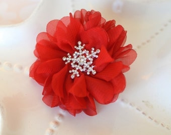 Red Snowflake Hair Clip for Christmas