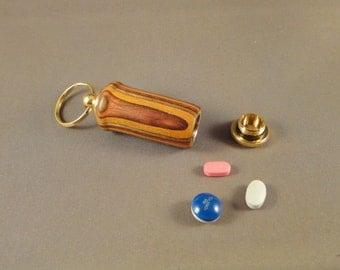 Medication Holder - Key Chain - Laminated Wood