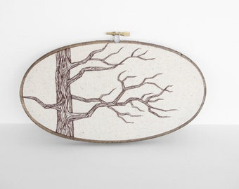 "Tree Art Botanical Embroidery in Brown and Natural Tan. Neutral Nature Embroidery Hoop Wall Art 5""x9"". Embroidered Fiber Art Wall Hanging"