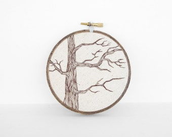 "Tree Embroidery, Tree Art in Brown and Natural Tan. 4"" Neutral Nature Embroidery Hoop Wall Art. Embroidered Fiber Art Wall Hanging"