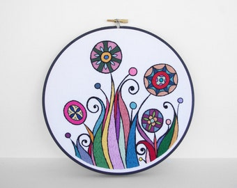 Hand Embroidery Art - Rainbow Embroidered Abstract Flowers, 8 inch Embroidery Hoop Wall Art