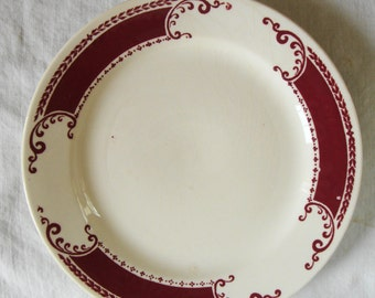 VINTAGE HOMER LAUGHLIN Plate Victorian Dessert Plate Burgandy And Cream Side Plate Bread Plate Cottage Kitchen Serving Plate