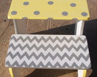 Custom Wooden, personalized, Nursery, Step Stool, Yellow Gray, Elephants,  Stepstools, BENCH, Bathroom stool