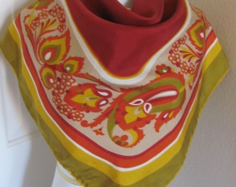 "ECHO // Vintage Rust Orange Soft Silk Scarf  // 27"" inch 69cm Square"
