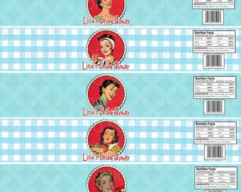 Printable DIY PERSONALIZED 1950's Retro Housewife Bridal Shower Water Bottle Labels