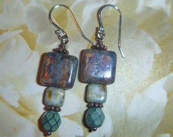 Czech glass squares and turquoise czech  bead earrings sterling silver hooks