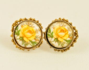 Yellow Rose Cameo Earrings, Gold Filigree Accent, 1970s