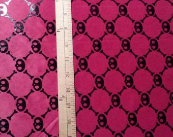 Hot Pink with Black Skulls Halloween Fabric