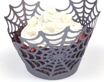 12 spider web halloween cupcake wrappers (pearlescent black paper)