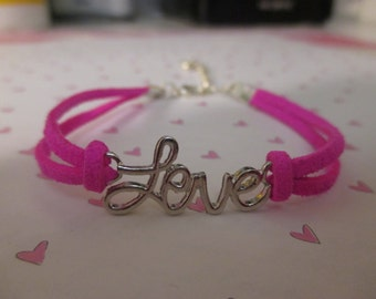 Love Charm with Hot Pink Faux Suede Band Bracelet