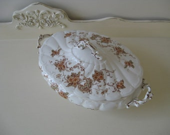Antique Lidded Tureen Transferware Florence Polychrome 19th Century Serving English Registry Collectible Vintage