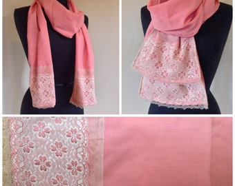 Handmade peach coral salmon with cream or lavender  lace accents boho scarf for spring