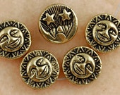 12mm Dark Gold Sun and Moon Beads (10pcs) Gold Plated Metal Beads