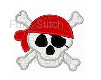 Pirate skull applique machine embroidery design