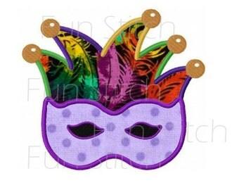 Mardi gras mask applique machine embroidery design