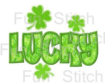 St Patrick's Day lucky shamrock applique machine embroidery design