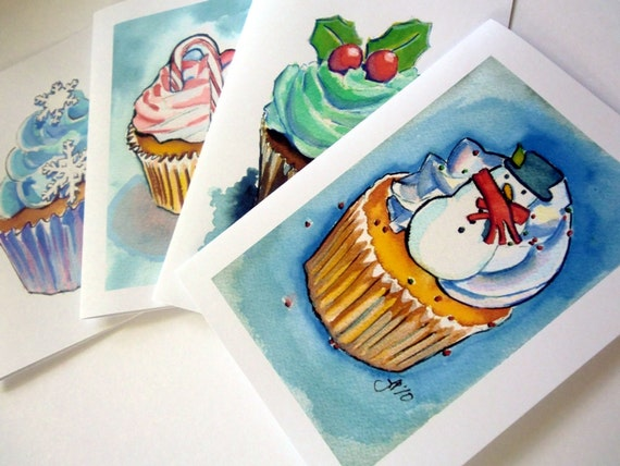 Christmas Cards, Cupcake Greeting Cards, Watercolor Art Greeting Cards, Set of 12