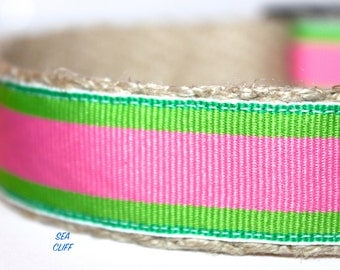 "Pink and Green Dog Collar, Stripe Collar, Preppy Dog Collar, Pet Collars, Girl Dog Collar, 1"" Wide Dog Collar"