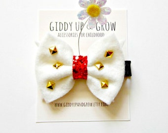 Disney Bow Inspired- Retro Minnie Mouse Bow, Party Headband, Glitter Bow, Giddy Up and Grow