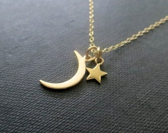 Small crescent moon and star necklace, dainty moon & star charm necklace, celestial jewelry, nymetals